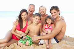 Portrait Of Family On Beach Holiday stock photos