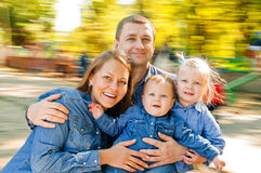 Portrait Family In carousel Royalty Free Stock Images