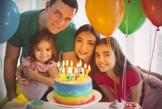 Portrait of family celebrating birthday Stock Image