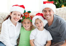 Portrait of a family at christmas Royalty Free Stock Photo