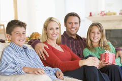 Portrait Of Family At Christmas Stock Images
