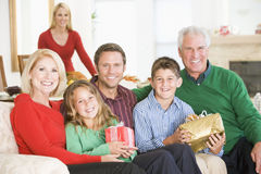 Portrait Of Family At Christmas Stock Photography