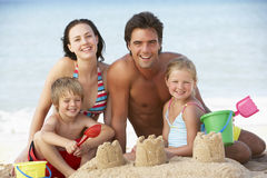 Portrait Of Family Enjoying Beach Holiday Royalty Free Stock Photos