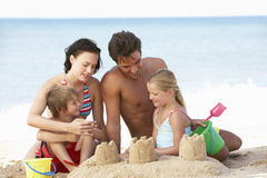 Portrait Of Family Enjoying Beach Holiday Stock Photo