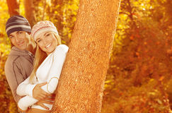 Portrait of family in forest Stock Images