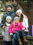Portrait of family of four outdoor Royalty Free Stock Photography