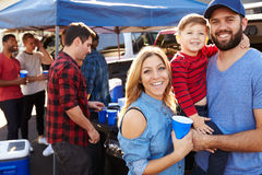 Portrait Of Family Group Tailgating In Stadium Car Park Stock Images