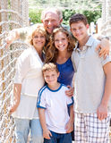 Portrait of family on hanging bridge Royalty Free Stock Photo
