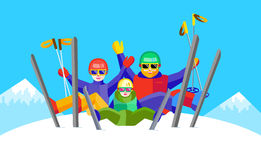 Portrait of family having fun in the snow Royalty Free Stock Image