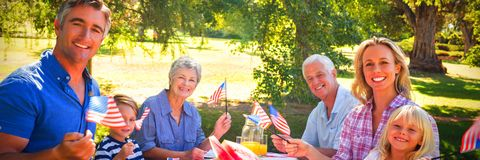 Portrait of family having picnic and holding american flag royalty free stock photo