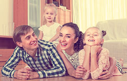 Portrait of family with kids at home Stock Photo