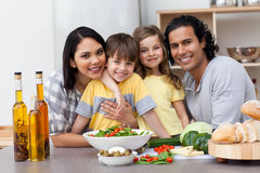 Portrait of a family in the kitchen Royalty Free Stock Photos