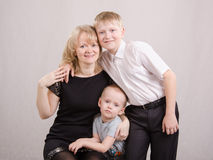 Portrait of a family - mother and two children Royalty Free Stock Image