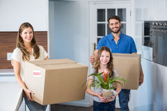 Portrait of family moving house royalty free stock images