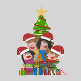 Portrait of family posing in front of Christmas tree. 3D Royalty Free Stock Images