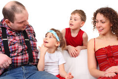 Portrait of family on sofa Royalty Free Stock Image