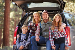 Portrait of family by their car before hiking, California Stock Image