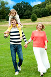 Portrait of family of three. Outdoor Royalty Free Stock Photography