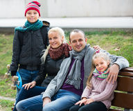 Portrait of family with two kids outdoors Royalty Free Stock Image