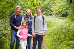 Portrait Of Family On Walk Through Beautiful Countryside Stock Photos