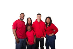 Portrait of a family of 5. On white royalty free stock photos