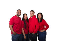 Portrait of a family of 4. On white royalty free stock photos