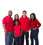 Portrait of a family of 5. On white stock photos