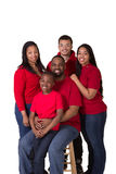 Portrait of a family of 5. On white stock images