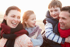Portrait Of Family On Winter Beach Royalty Free Stock Photo