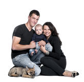 Portrait of a family with a wolf cub Royalty Free Stock Photography