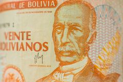 Portrait on bolivian money bill royalty free stock images