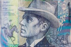 Portrait on 10 australian Dollar money bill royalty free stock photos