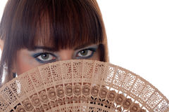 Portrait with a fan Stock Photography