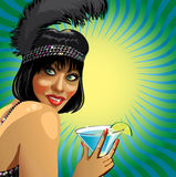 Portrait of fanny female  with coctail.Illustrstio Stock Photography