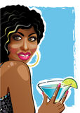 Portrait of fanny mulattos girl with coctail.Illus Royalty Free Stock Photo