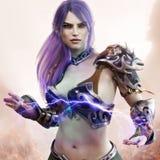 Portrait of a fantasy dark elf female warlock displaying her mystic power. vector illustration