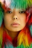 Portrait in farbigem Pelz Stockfotos