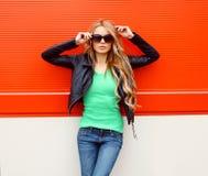 Portrait fashion beautiful woman in rock black style Royalty Free Stock Photo