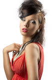Portrait of fashion brunette looks in to the lens Royalty Free Stock Photography