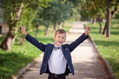 Portrait of fashion child. Funny little boy. 7 years old royalty free stock photo