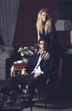 Portrait of a fashion couple royalty free stock photography