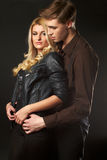 Portrait of fashion couple models Stock Photography