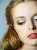 Portrait of fashion girl with brightly make up Stock Photos