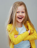 Portrait of fashion girl with long blond hair. Royalty Free Stock Photo