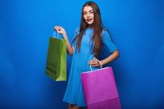 Portrait of fashion glamor stylish woman with shopping bags Stock Image
