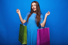Portrait of fashion glamor stylish woman with shopping bags Stock Photography