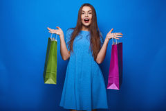 Portrait of fashion glamor stylish woman with shopping bags Stock Photos