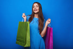 Portrait of fashion glamor stylish woman with shopping bags Royalty Free Stock Photography