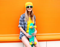 Portrait of fashion hipster cool girl in sunglasses Stock Photos