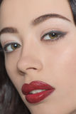 Portrait of fashion lady with dark red lips Royalty Free Stock Photo
